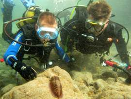 A Junior Diver and family in gran canaria with cuttlefish.